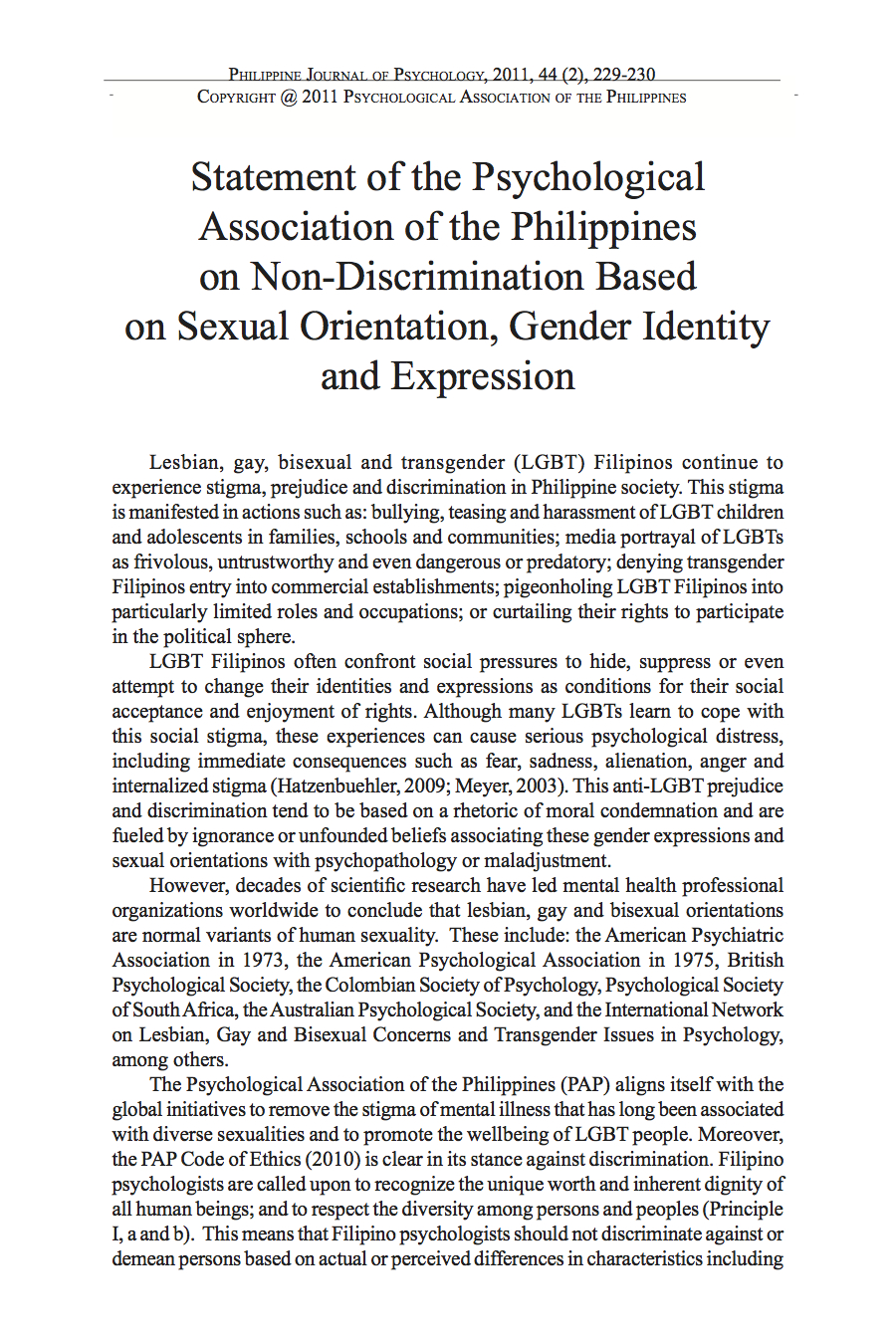 statement of the psychological association of the on  statement of the psychological association of the on non discrimination based on sexual orientation gender identity and expression eric