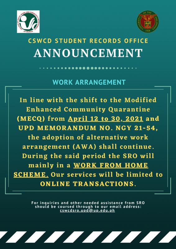 Work Arrangement for April 12 to 30, 2021