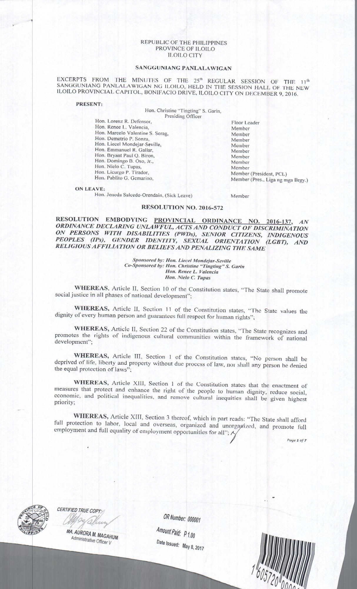 Province of Iloilo Anti Discrimination Ordinance