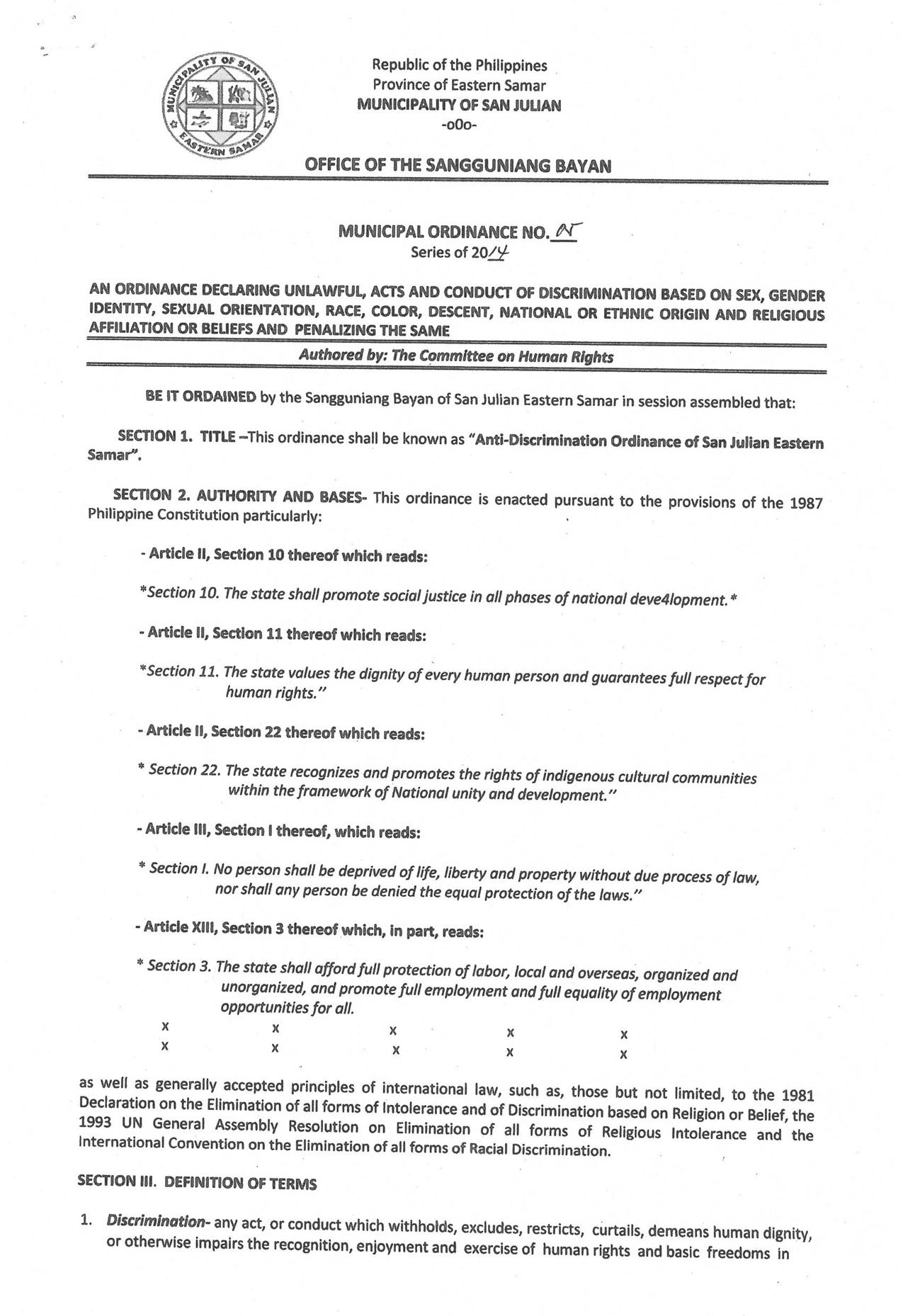 Anti-discrimination ordinance, San Julian, Eastern Samar