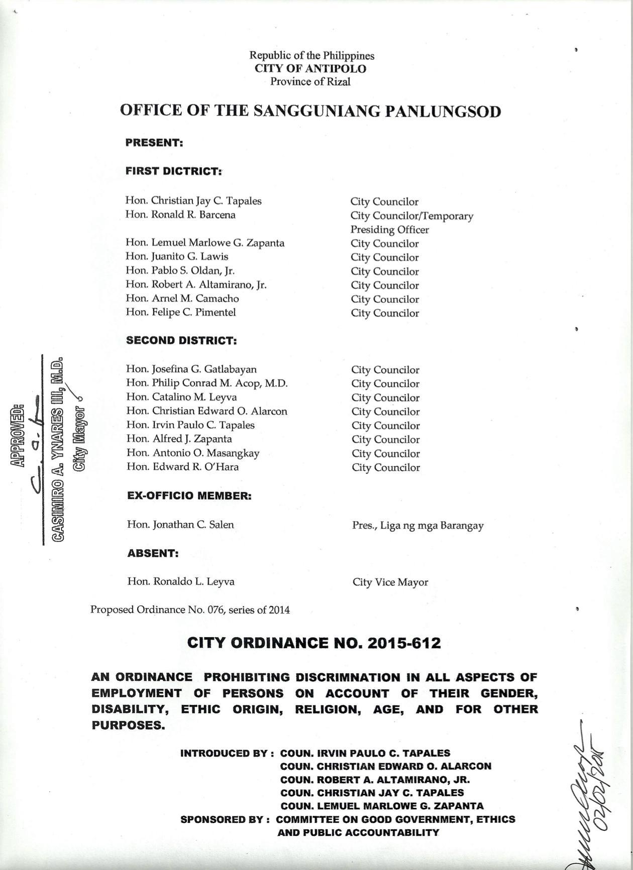 Antipolo City ADO (January 2015)