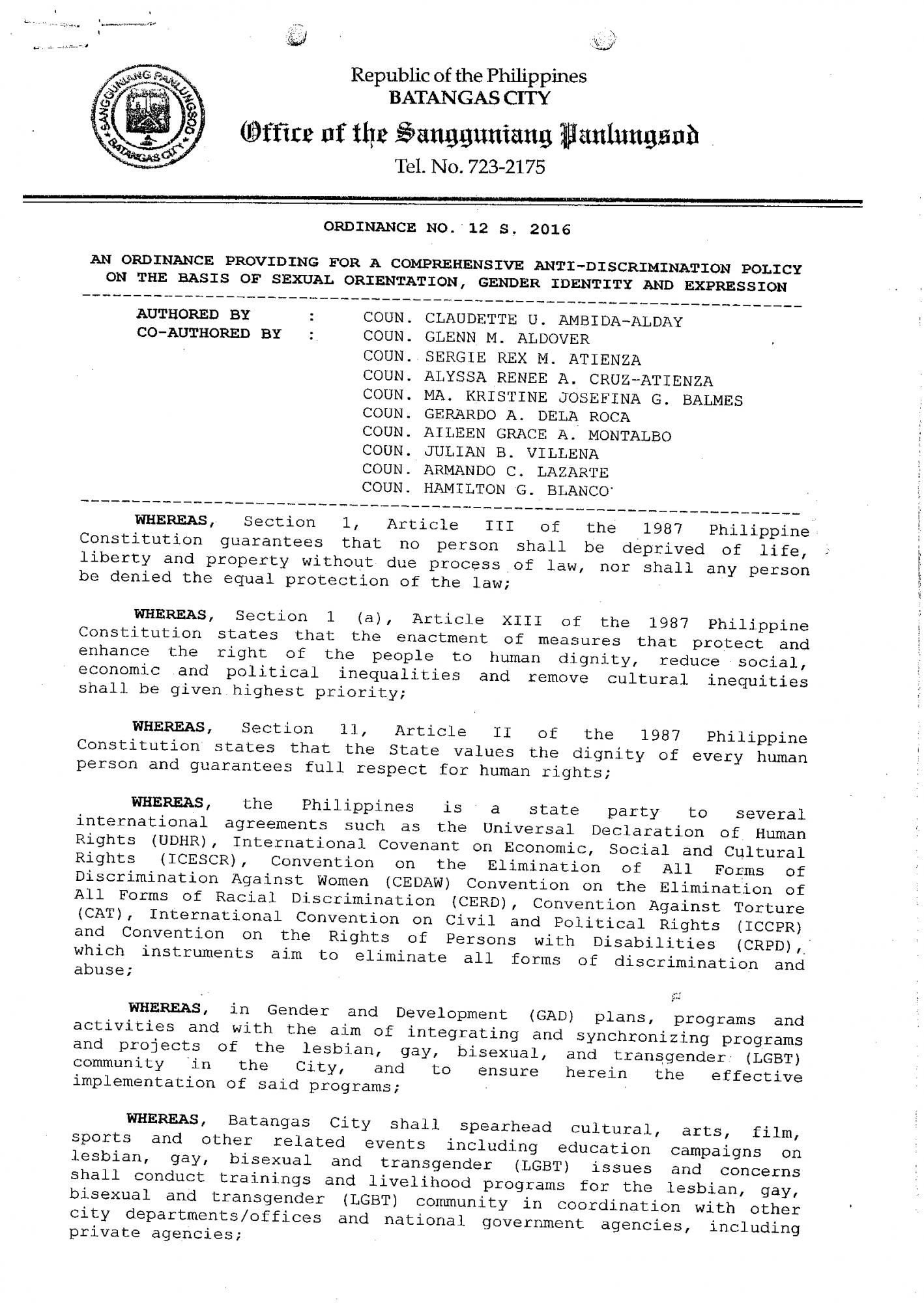 Batangas City Anti-Discrimination Ordinance