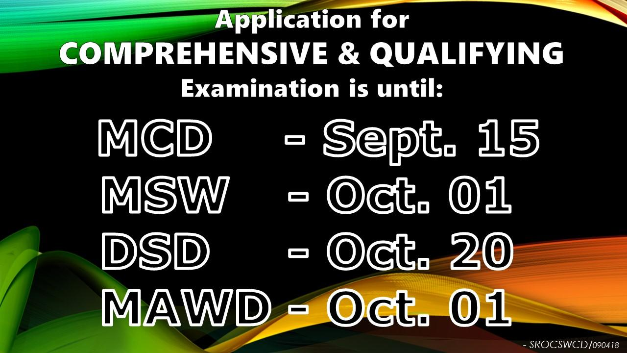 Comprehensive and Qualifying Exam Application